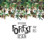 Endless watercolor forest design