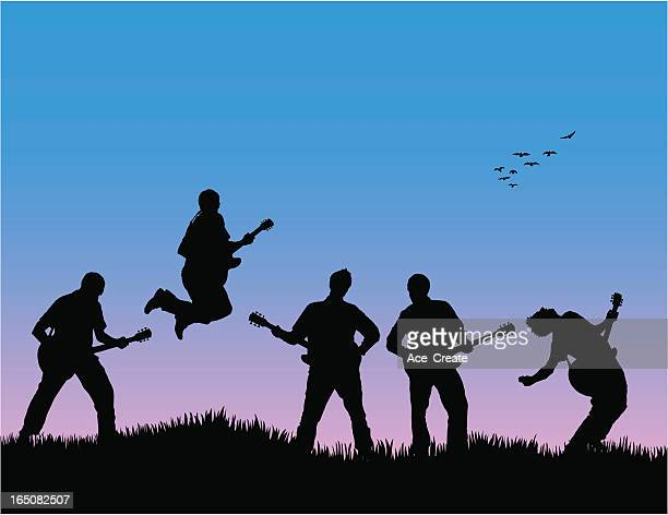 energetic band with blue sky - group of animals stock illustrations, clip art, cartoons, & icons