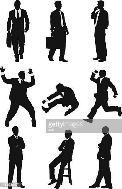 energetic businessmen silhouettes - multiple image stock illustrations, clip art, cartoons, & icons