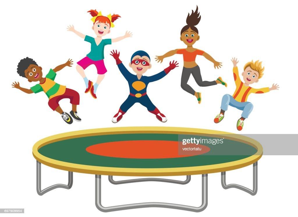 Energetic kids jumping on trampoline