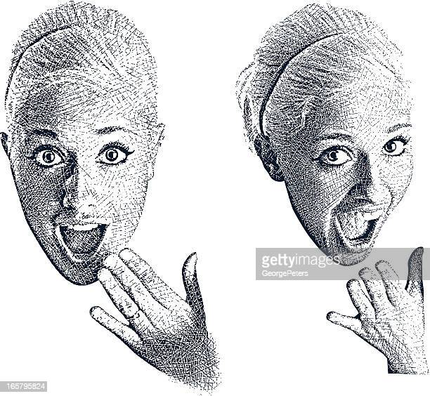 OMG! Energetic Young Woman with Surprised Expression