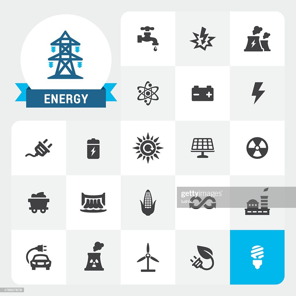 Energy and Electricity base vector icons and label