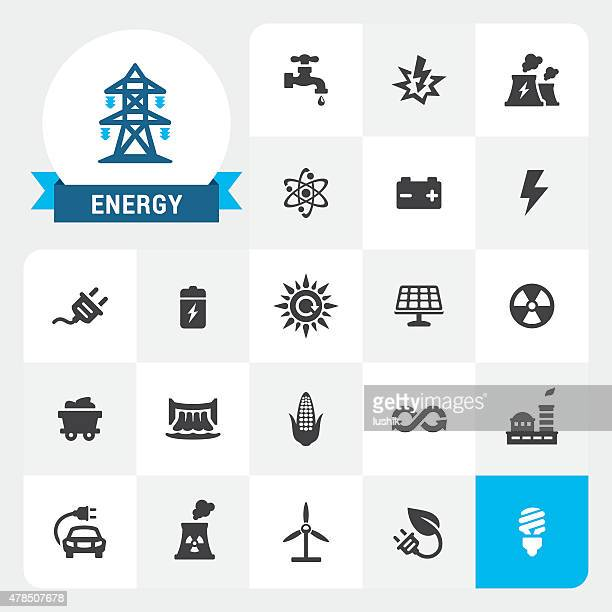 energy and electricity base vector icons and label - radioactive contamination stock illustrations