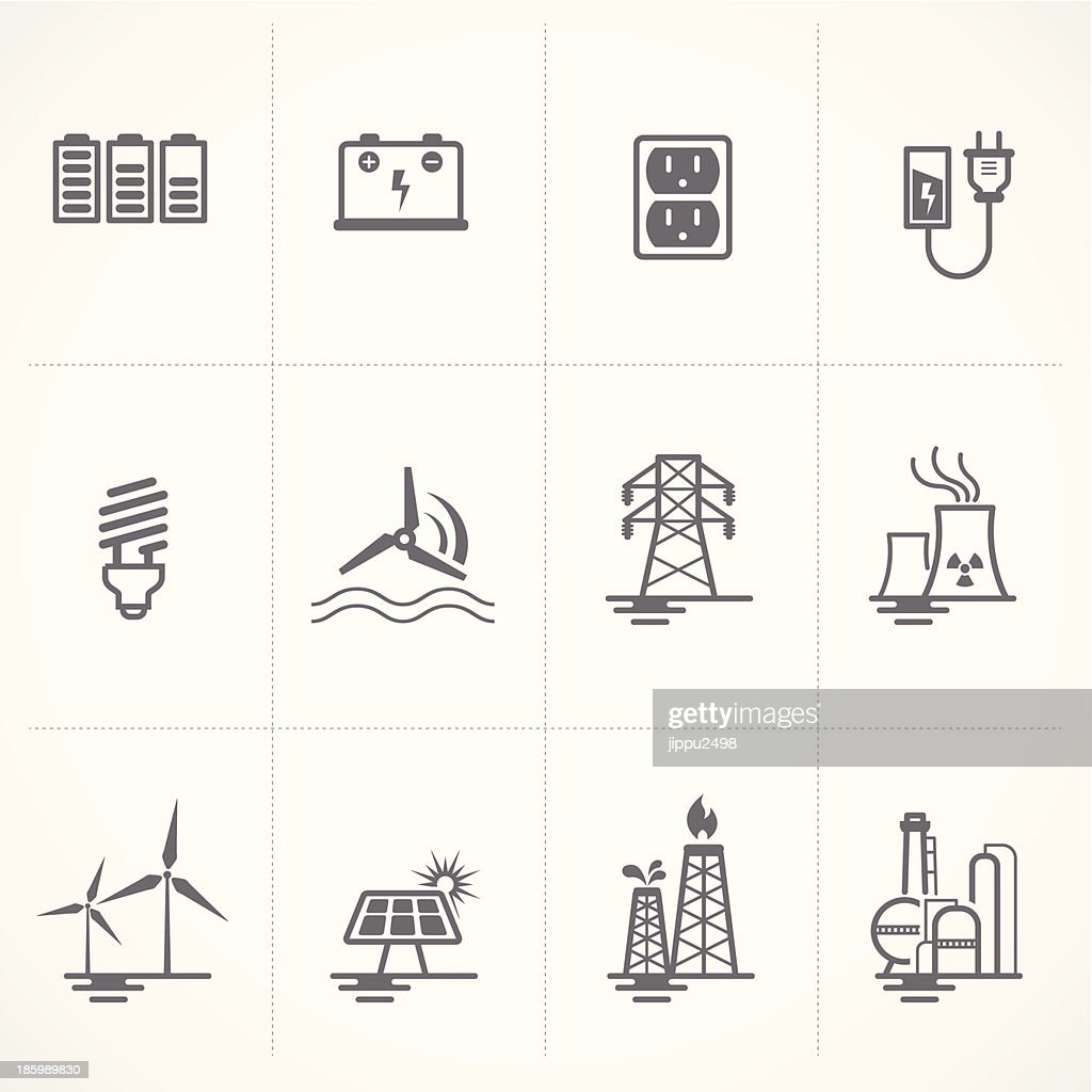 Energy and electricity icons set.