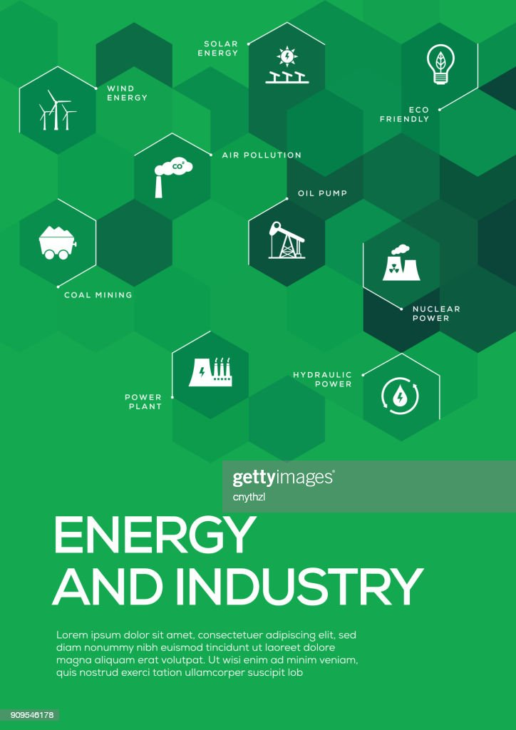Energy and Industry. Brochure Template Layout, Cover Design : stock illustration