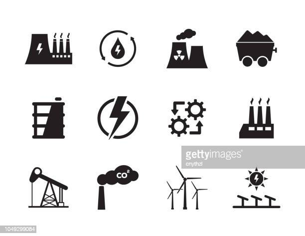 energy and industry icon set - nuclear power station stock illustrations