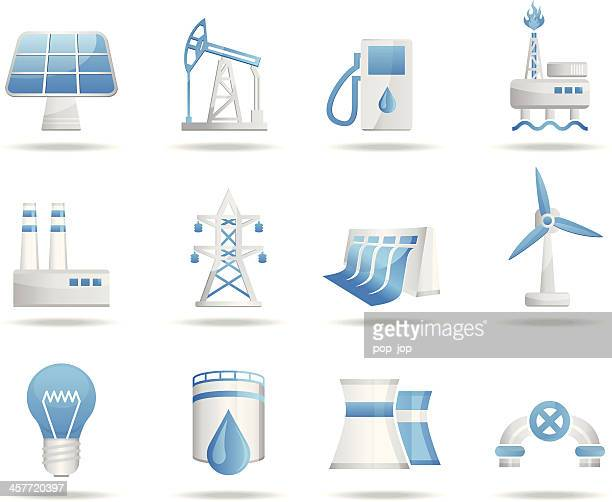 energy and industry icon set - turbine stock illustrations, clip art, cartoons, & icons