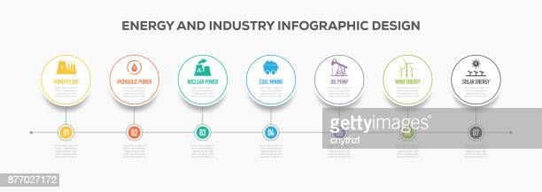 energy and industry infographics timeline design with icons - crude oil stock illustrations