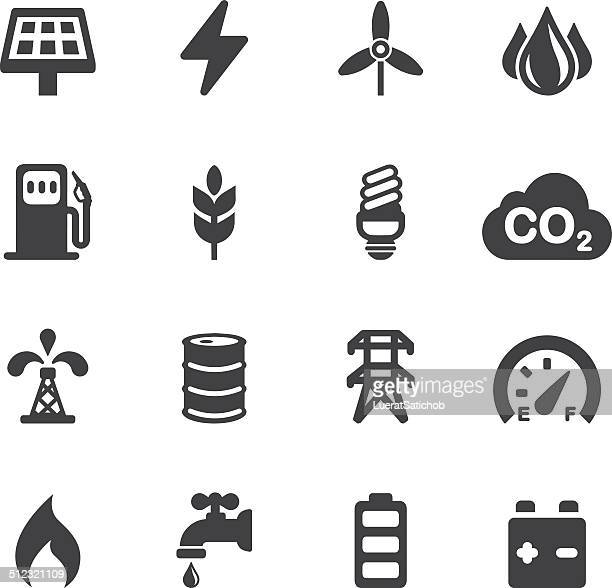 energy and industry silhouette icons | eps10 - stage set stock illustrations