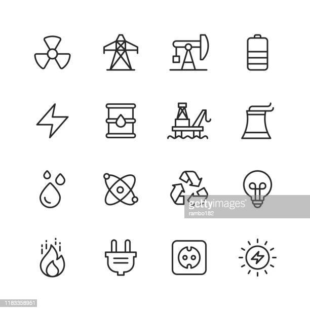 energy and power icons. editable stroke. pixel perfect. for mobile and web. contains such icons as energy, power, renewable energy, electricity, electric car, coal, gas, nuclear power, battery, factory. - nuclear energy stock illustrations