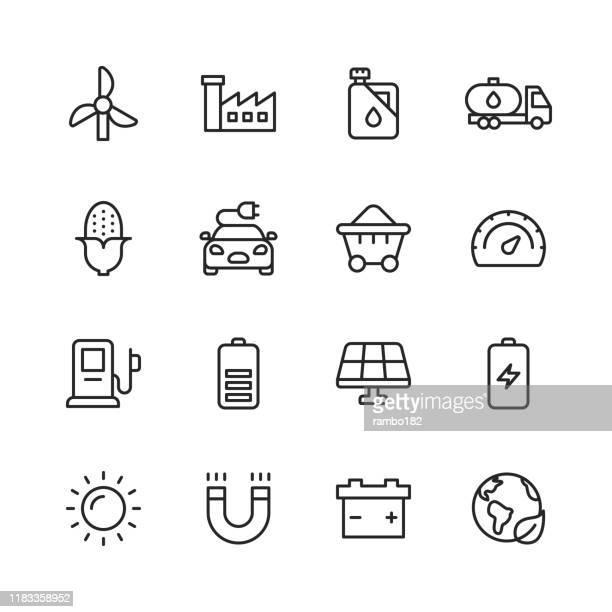bildbanksillustrationer, clip art samt tecknat material och ikoner med energi och makt ikoner. redigerbar stroke. pixel perfekt. för mobil och webb. innehåller sådana ikoner som energi, makt, förnybar energi, el, elbil, kol, gas, kärnkraft, batteri, fabriken. - elbil