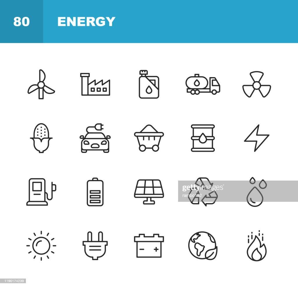 Energi och makt ikoner. Redigerbar stroke. Pixel perfekt. För mobil och webb. Innehåller sådana ikoner som energi, makt, förnybar energi, el, elbil, kol, gas, kärnkraft, batteri, fabriken, sol, solenergi, brand. : Illustrationer