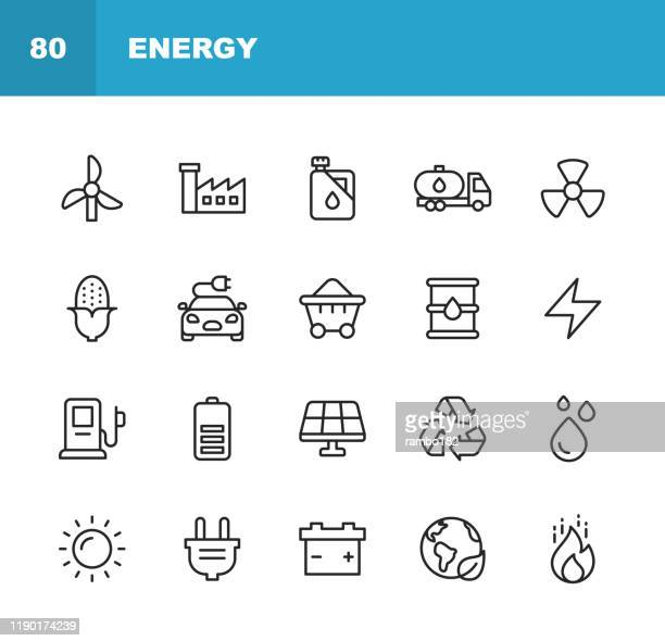 illustrazioni stock, clip art, cartoni animati e icone di tendenza di energy and power icons. editable stroke. pixel perfect. for mobile and web. contains such icons as energy, power, renewable energy, electricity, electric car, coal, gas, nuclear power, battery, factory, sun, solar energy, fire. - elettricità