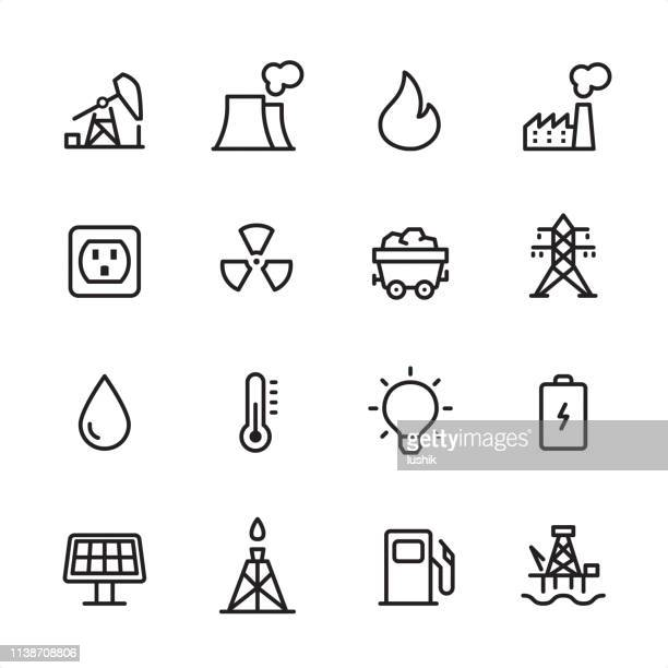 Energy and Power Industry - outline icon set