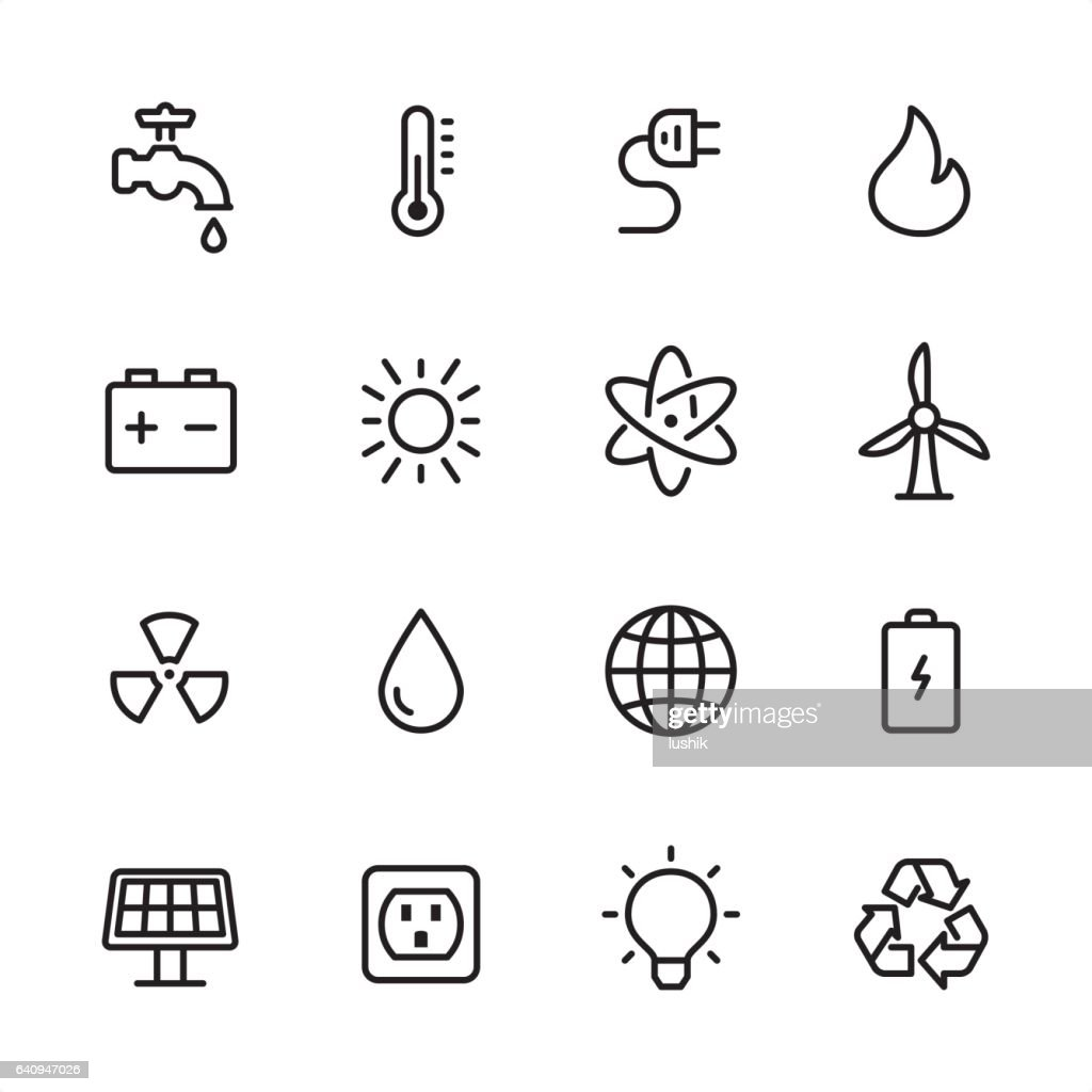 Energy and Power - outline icon set