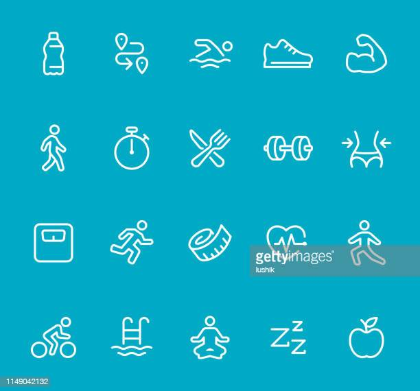 energy and sport - line icon set - water aerobics stock illustrations, clip art, cartoons, & icons