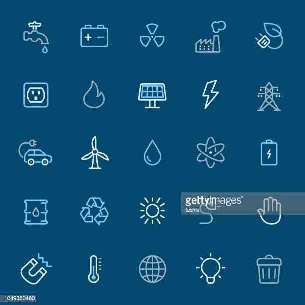 ilustraciones, imágenes clip art, dibujos animados e iconos de stock de energía - iconos de contorno de color - vehículo eléctrico