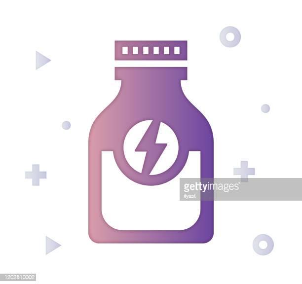 energy drinks gradient farbe & papercut stil icon design - energydrink stock-grafiken, -clipart, -cartoons und -symbole