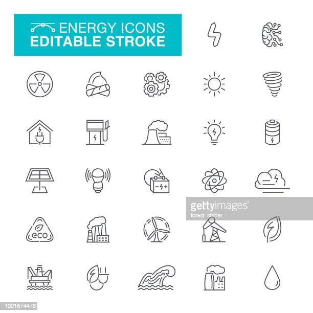 energy editable line icons - nuclear energy stock illustrations