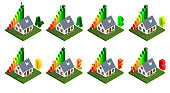 Energy efficiency and home improvement concept. Isometric home energy icons. Vector illustration