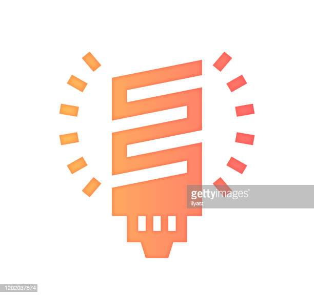 energy efficiency gradient fill color & paper-cut style icon design - kilowatt stock illustrations