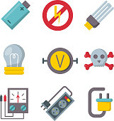 Energy electricity power icons battery vector illustration electrician voltage socket technology