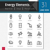 Energy elements vector icons set on white background.