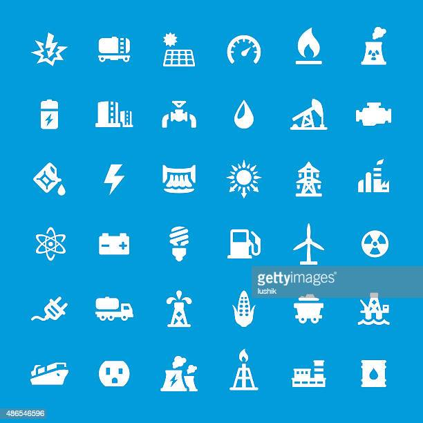 energy generation vector icons set - drilling rig stock illustrations, clip art, cartoons, & icons