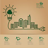ECO energy green city concept.