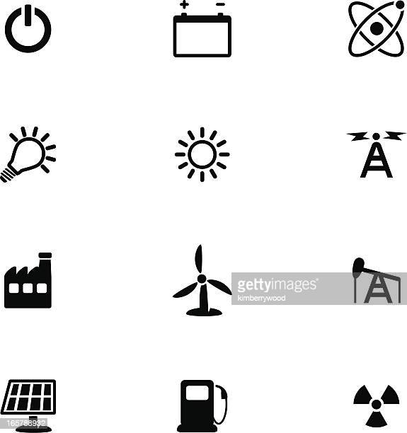 energy icon set - petrochemical plant stock illustrations, clip art, cartoons, & icons