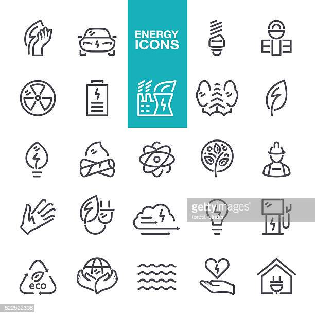energy icon set - car battery stock illustrations, clip art, cartoons, & icons