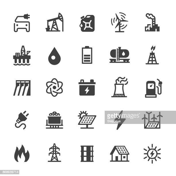 energy icons - black series - power line stock illustrations