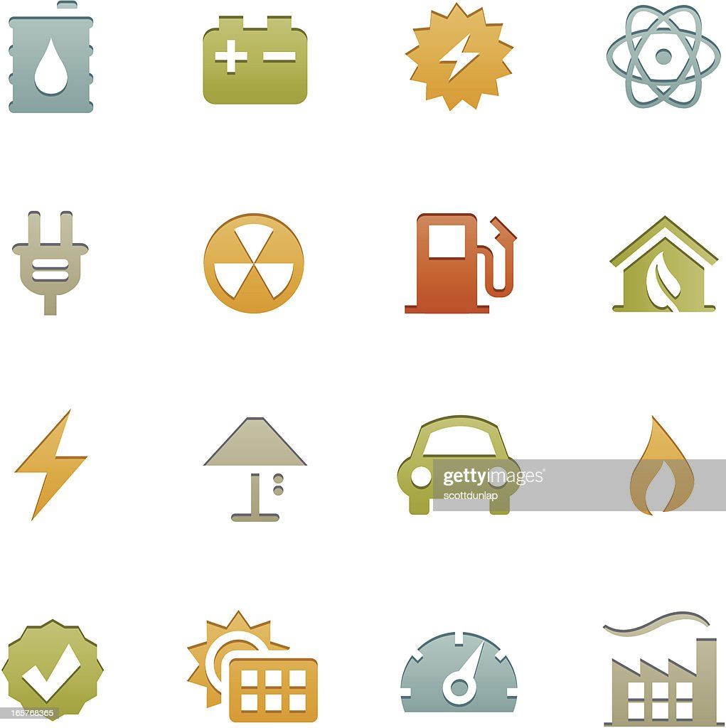 Energy icons in set of sixteen