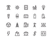 Energy icons, outline style