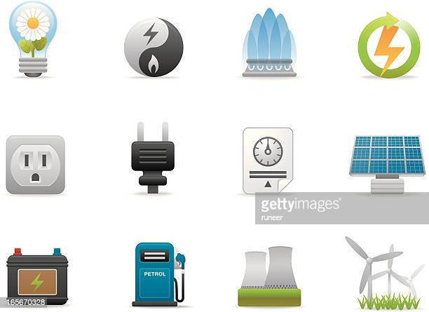 energy icons | premium matte series - car battery stock illustrations, clip art, cartoons, & icons