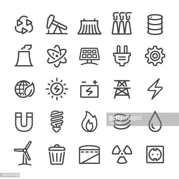 energy icons - smart line series - nuclear energy stock illustrations