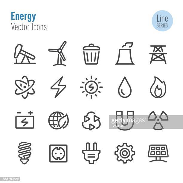 energy icons - vector line series - fuel and power generation stock illustrations
