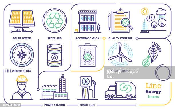 energy line icon set - occupational safety and health stock illustrations, clip art, cartoons, & icons