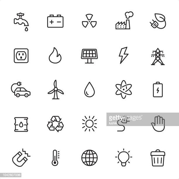 energy - outline icon set - pollution stock illustrations