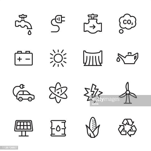 energy - outline icon set - water valve stock illustrations, clip art, cartoons, & icons