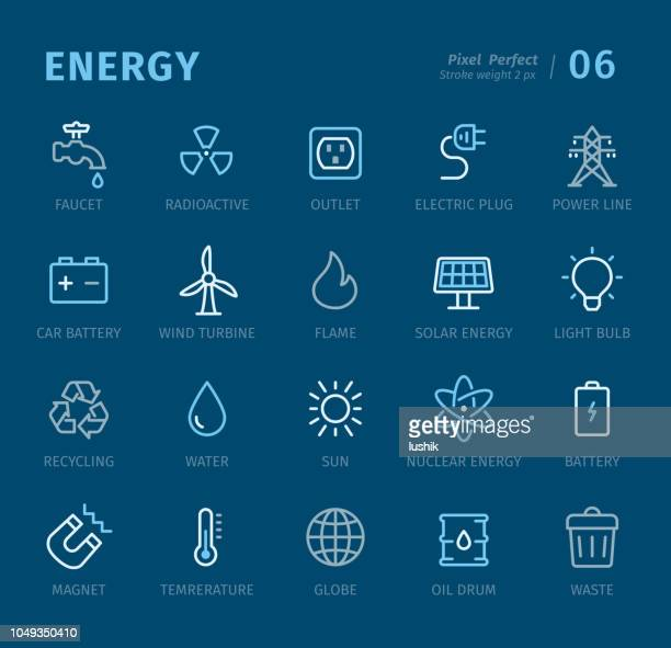 energy - outline icons with captions - cable stock illustrations, clip art, cartoons, & icons