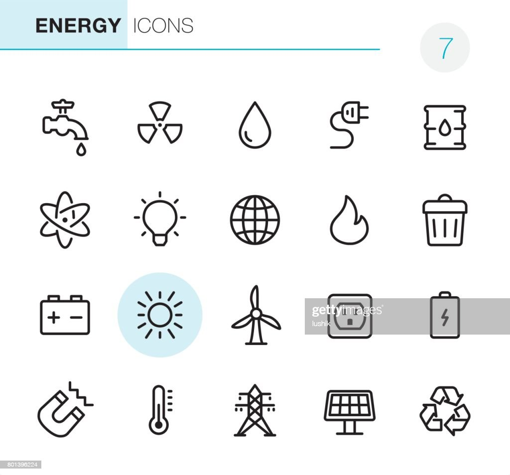Energy - Pixel Perfect icons : stock illustration