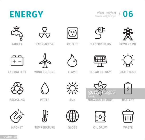 ilustrações de stock, clip art, desenhos animados e ícones de energy - pixel perfect line icons with captions - torneira