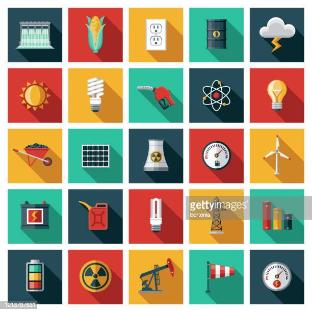 energy, power and fuel generation icon set - nuclear energy stock illustrations