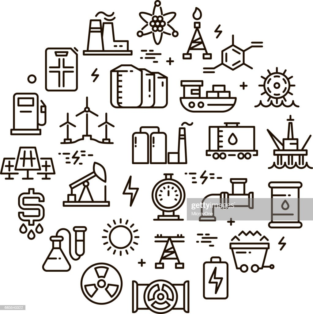 Energy, power and fuel vector line icons