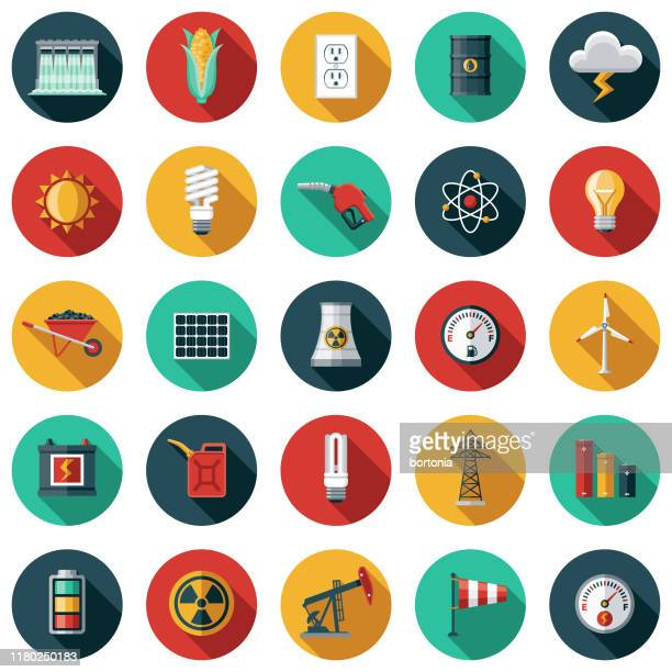energy & power icon set - nuclear energy stock illustrations