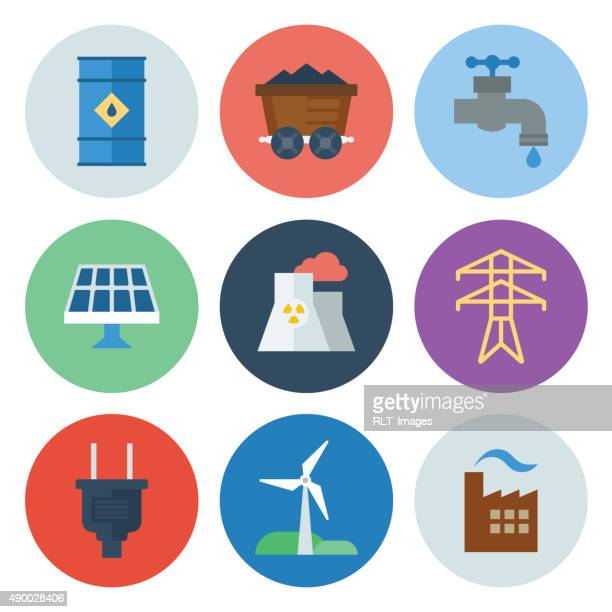 energy & power icons — circle series - nuclear energy stock illustrations