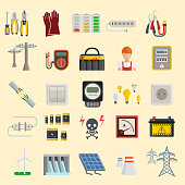 Energy power icons vector. Electricity safety power icons. Wind ecology sun energy icons illustration oil battery vector. Energy icons environment, electricity vector solar bulb water nature renewable