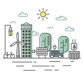 Energy saving and environmentally friendly technologies, alternative energy sources. The town streets in a flat linear style.