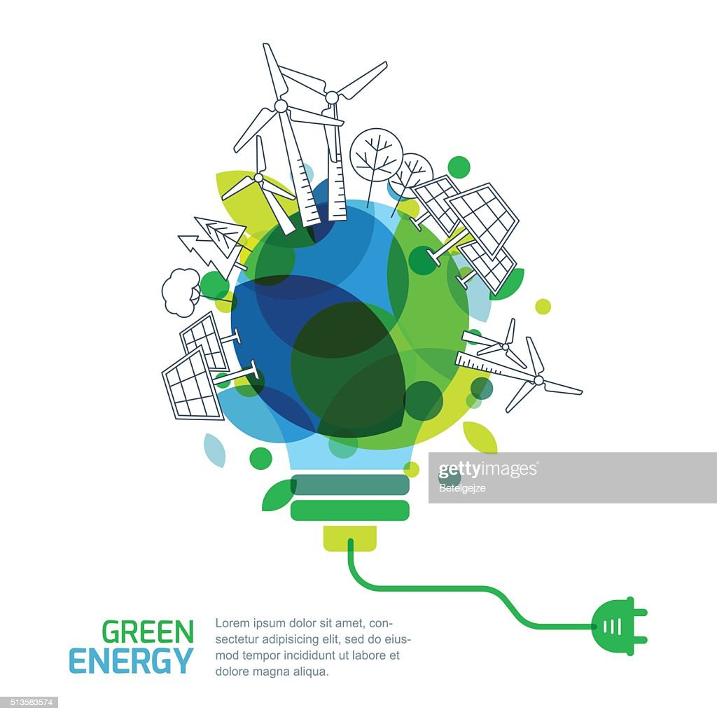 Energy saving concept. Green renewable energy and environmental.